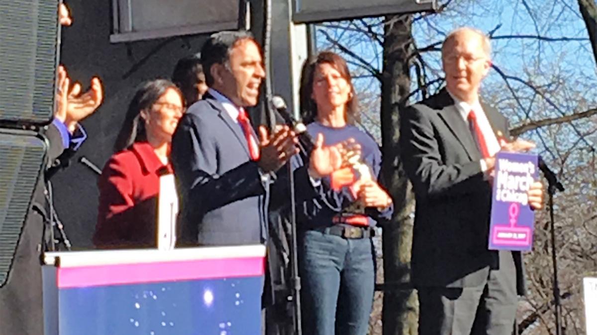 Rep Krishnamoorthi Addressing Chicago Women's March